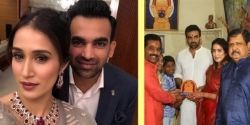 Sagarika Ghatge visits Mahalaxmi temple in Kolhapur with her husband Zaheer Khan