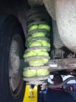 7. We did not know that if you put tennis balls on the coil springs, the stiffness is significantly increased and the stability of the vehicle is greater... But why doesn't anyone do this?