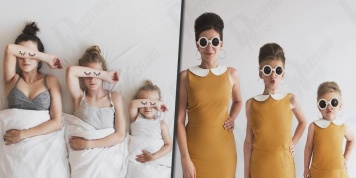 Mother and daughters dress in the same clothes and create a series of adorable pictures
