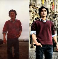 2. Here both the father and the son wear with similar shirt…