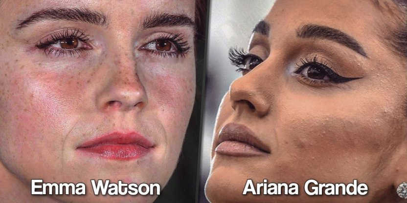 Faces of celebrities seen very close up and without Photoshop