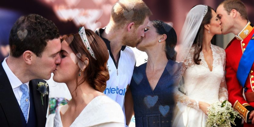 The difference between the wedding kisses of Kate Middleton, Meghan Markle and Princess Eugenie